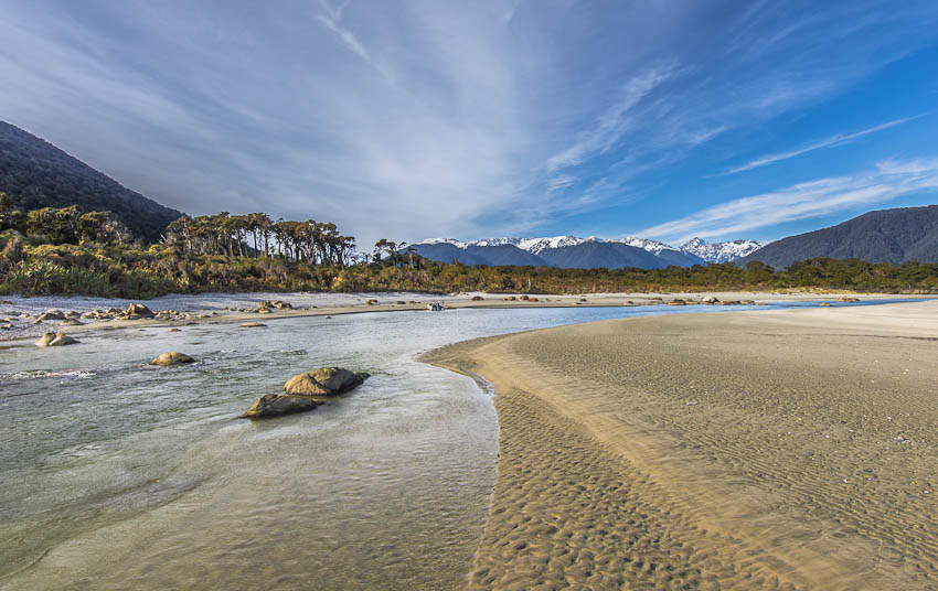 Awarua River estuary, Big Bay, Fiordland, New Zealand
