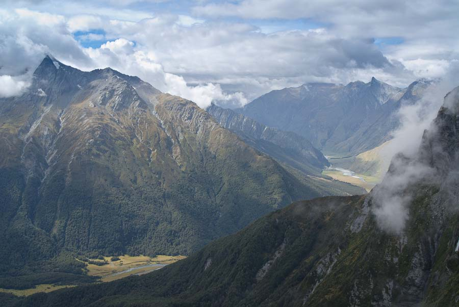 Cascade Saddle, view of Matukituki Valley