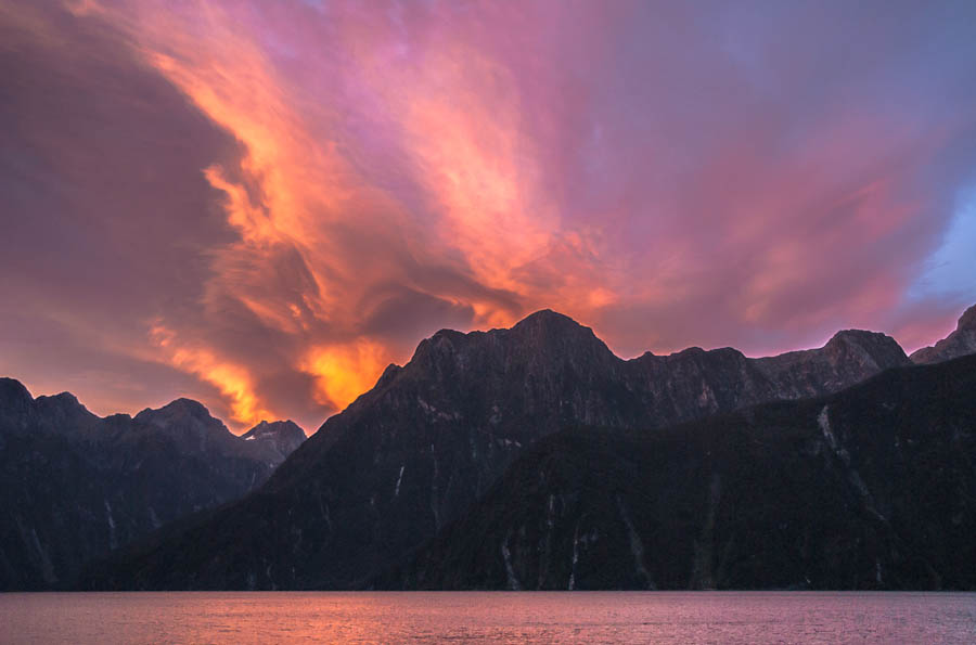 Orange Twilight over Milford Sound, Fiordland, New Zealand