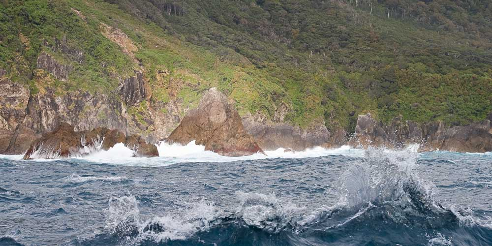 Rough sea and coast of Fiordland, New Zealand