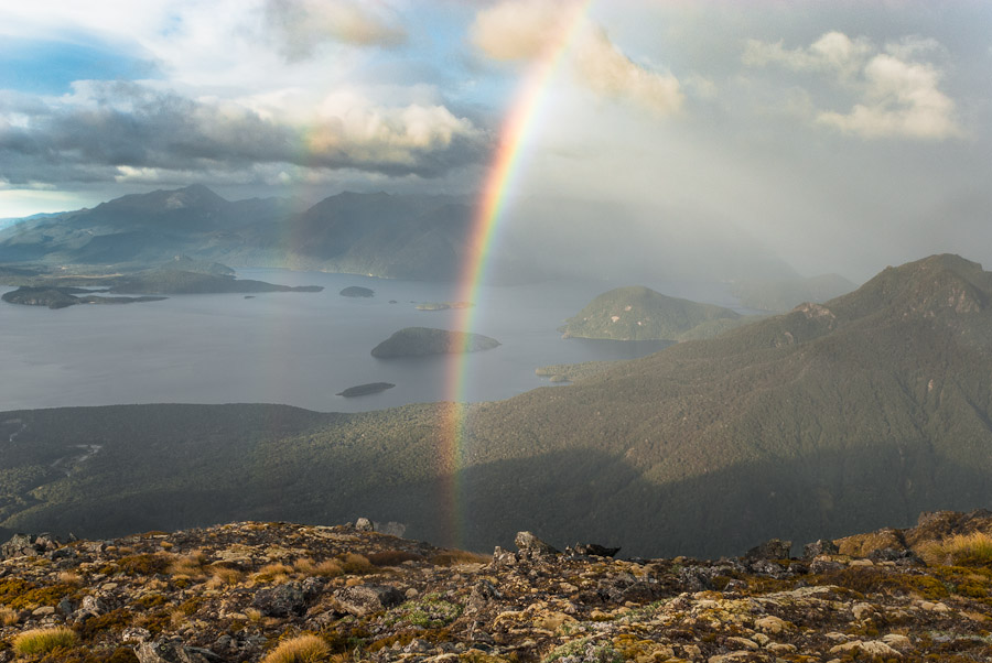 Rainbow over Lake Manapouri, Kepler Mts, New Zealand