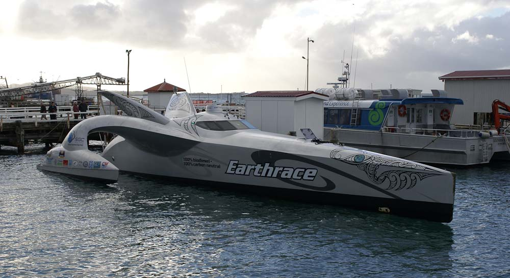 Earthrace in port of Bluff, Bluff, New Zealand