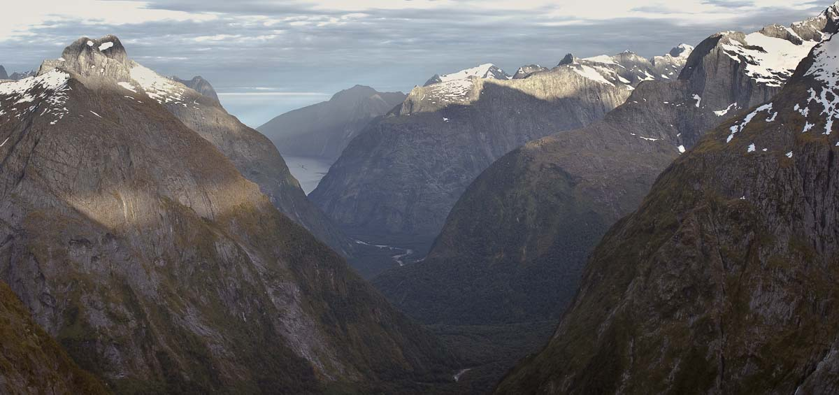 Gertrude Saddle in morning twilight, Milford Road, Fiordland