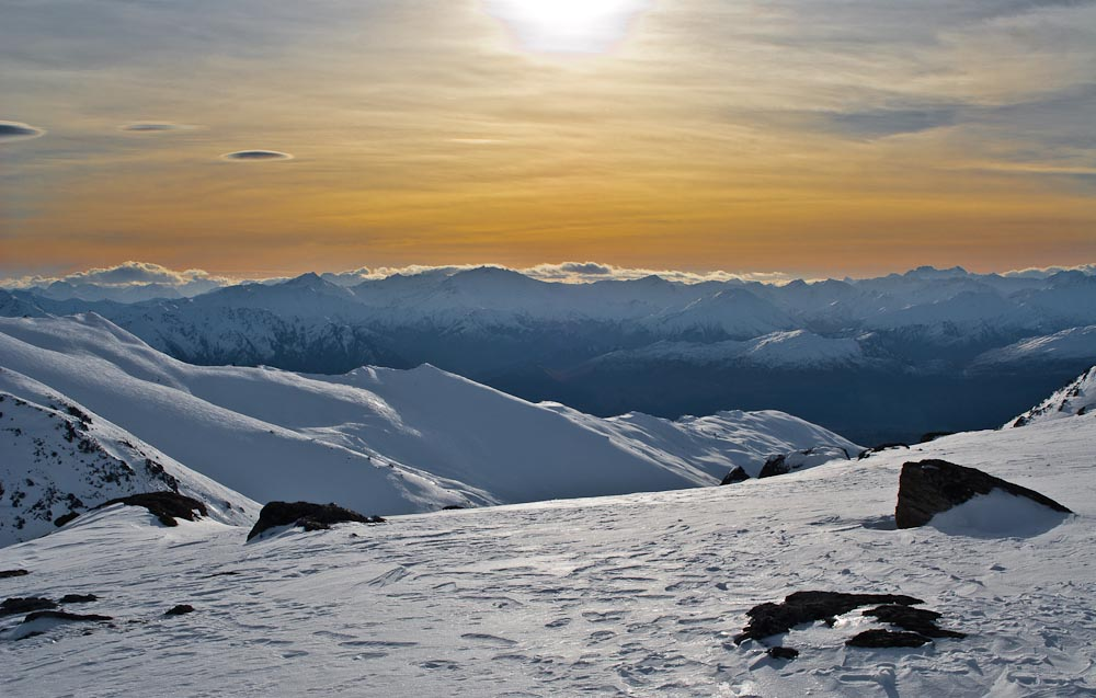 Remarkables ski field, view towards Arrow Basin, New Zealand