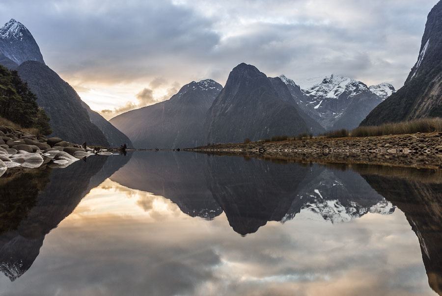 Milford Sound and reflection, Fiordland, New Zealand