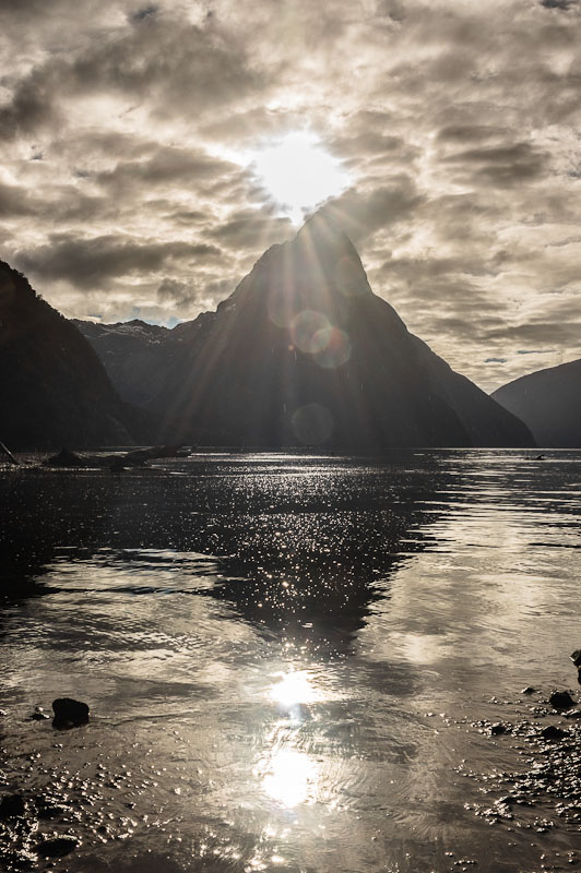 Milford Sound - Mitre Peak and Sun, Fiordland, New Zealand