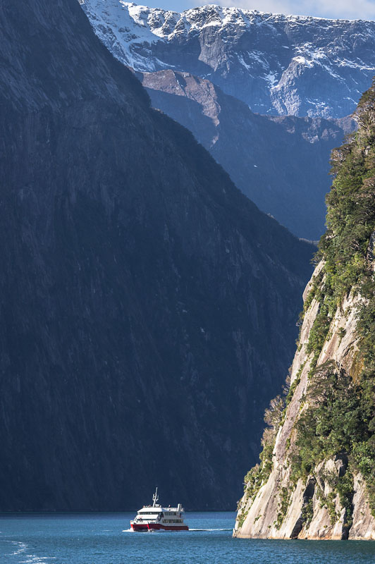 Milford Sound bounded by steep cliffs, Fiordland, New Zealand
