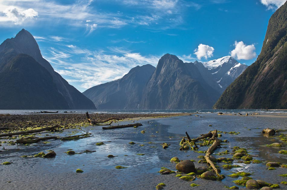 Milford Sound from Freshwater Basin, Fiordland, New Zealand