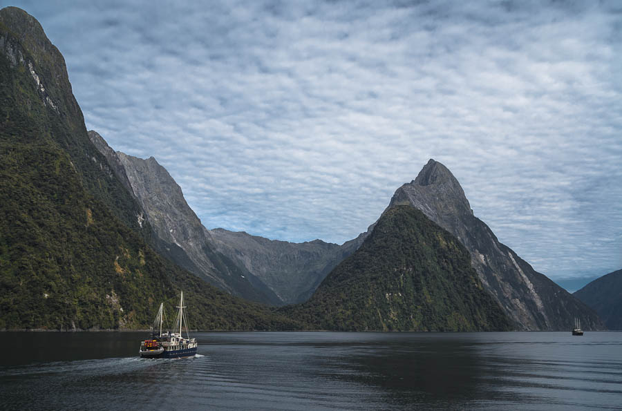 Milford Wanderer and Mitre Peak, Milford Sound, New Zealand