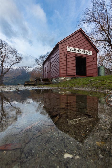 Reflection of Glenorchy Boat Shed, New Zealand
