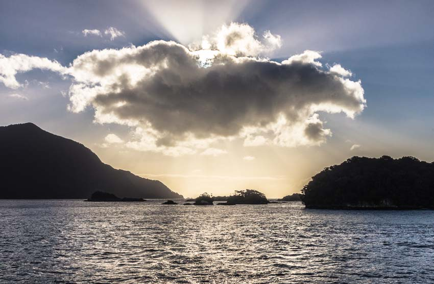 Sunbeam above Doubtful Sound, Fiordland, New Zealand