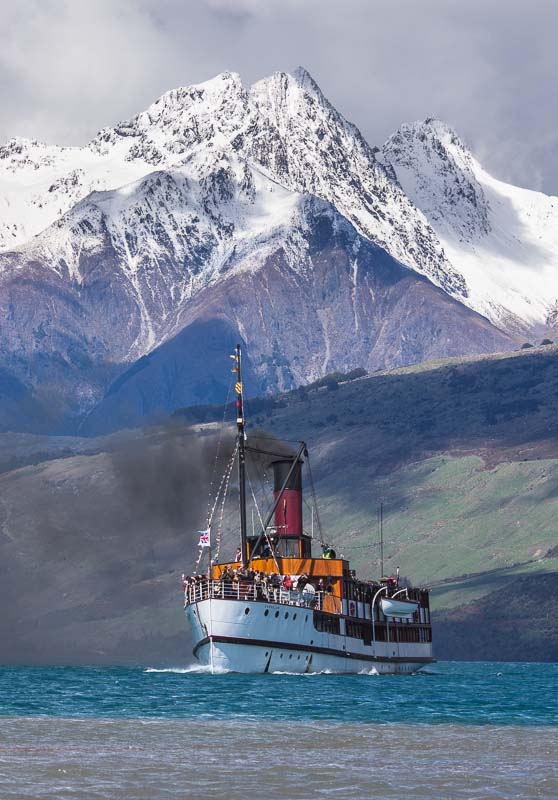 TSS Earnslaw steamer and Tooth Peak, Glenorchy, New Zealand
