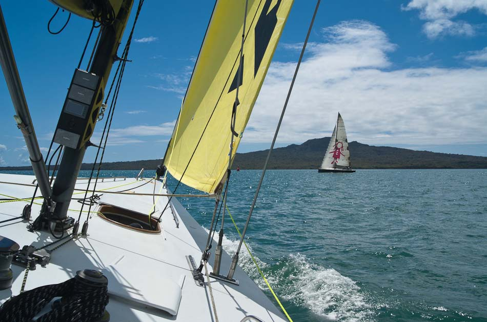 America's Cup yacht, view of Rangitoto Island, Auckland
