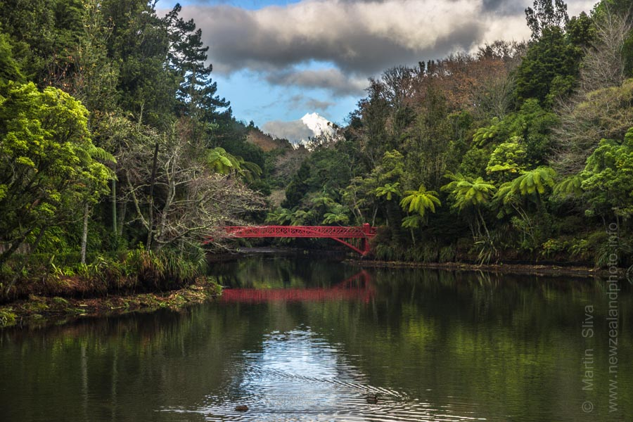 Poet's Bridge & Mt Taranaki, Pukekura Park, New Plymouth