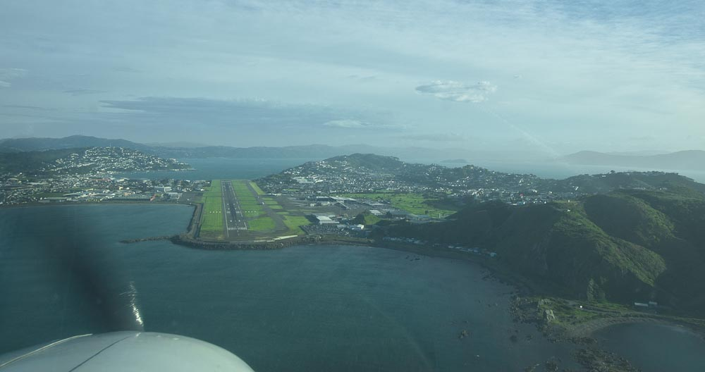 Landing on Wellington, international airport, New Zealand