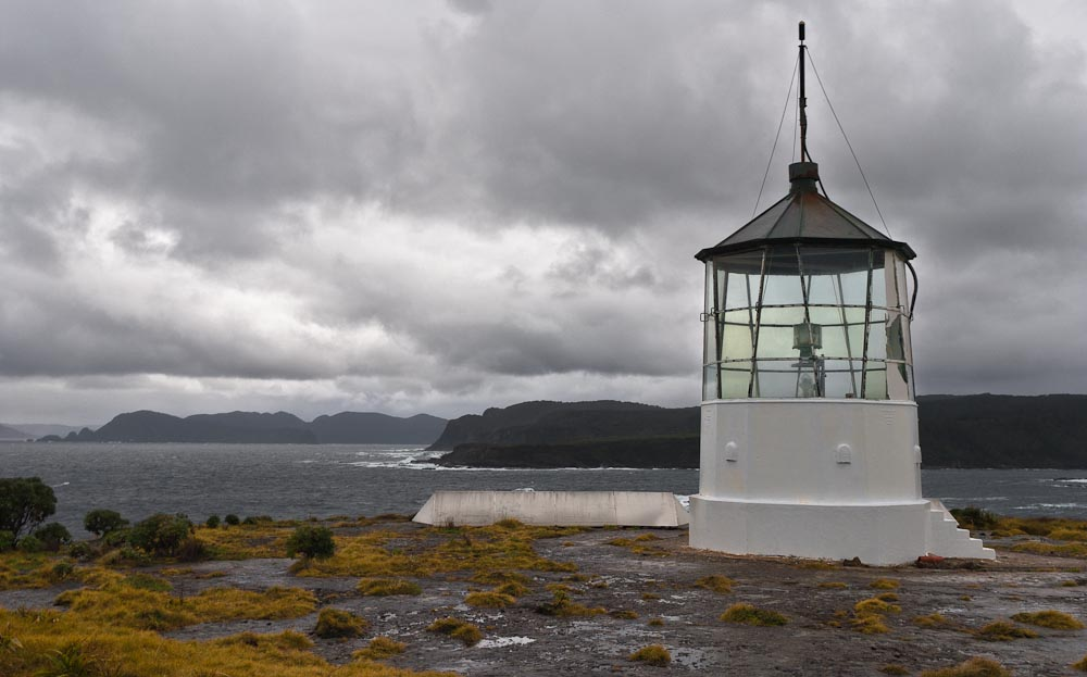 Puysegur Point lighthouse, Preservation Inlet, Fiordland, New Zealand