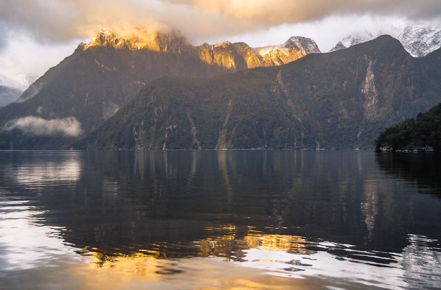 Morning twilight over Milford Sound, Fiordland, New Zealand