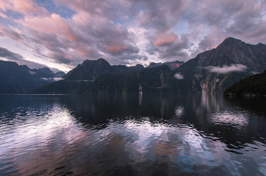 Morning twilight over Mitre Peak and Milford Sound, New Zealand