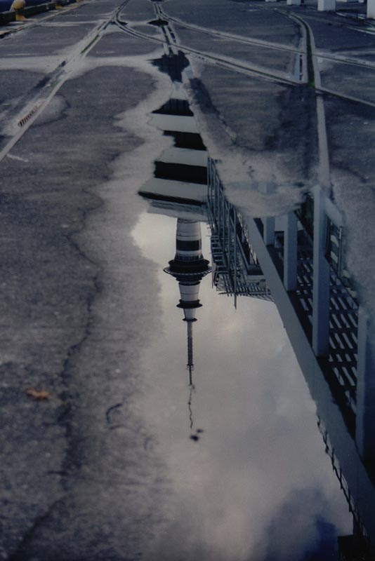 Reflection of Sky Tower, Auckland, New Zealand