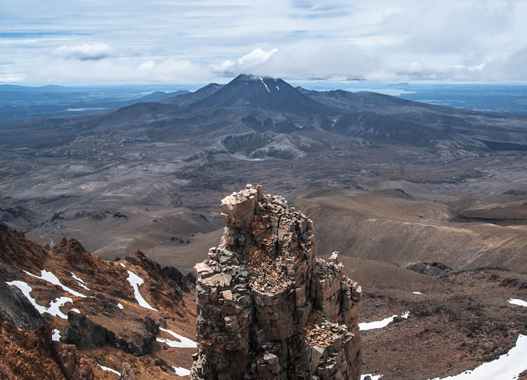 Skyline Ridge of Mt Ruapehu, view of Mt Ngauruhoe