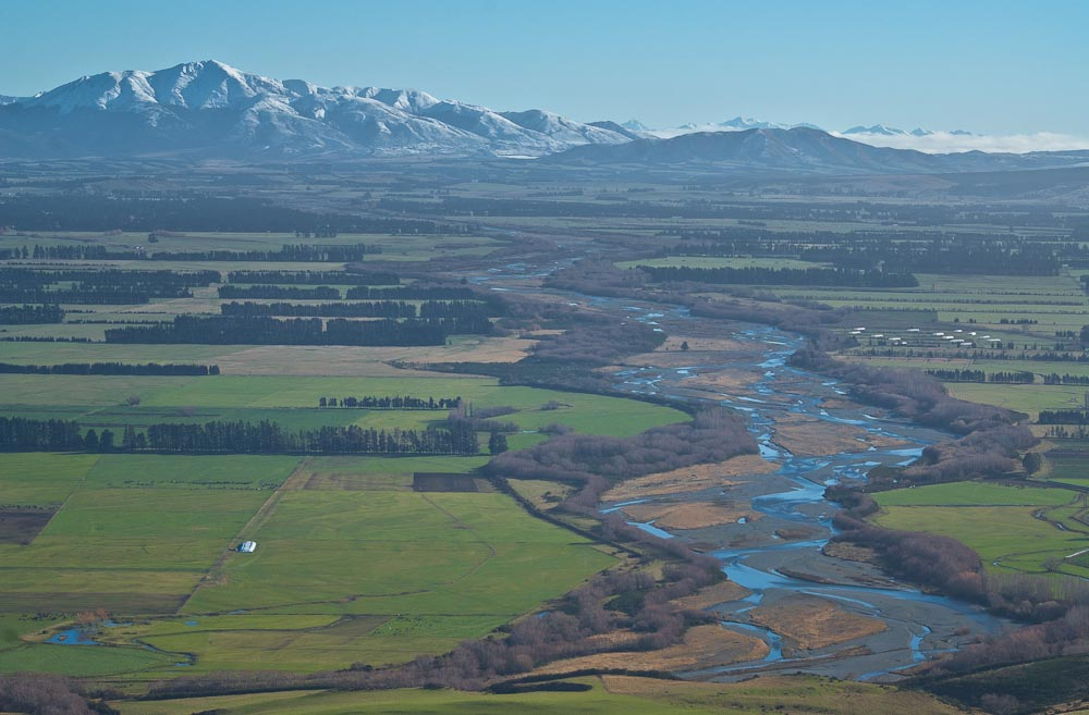 Taktimu Mts and Oreti River from Lintley Hill, New Zealand