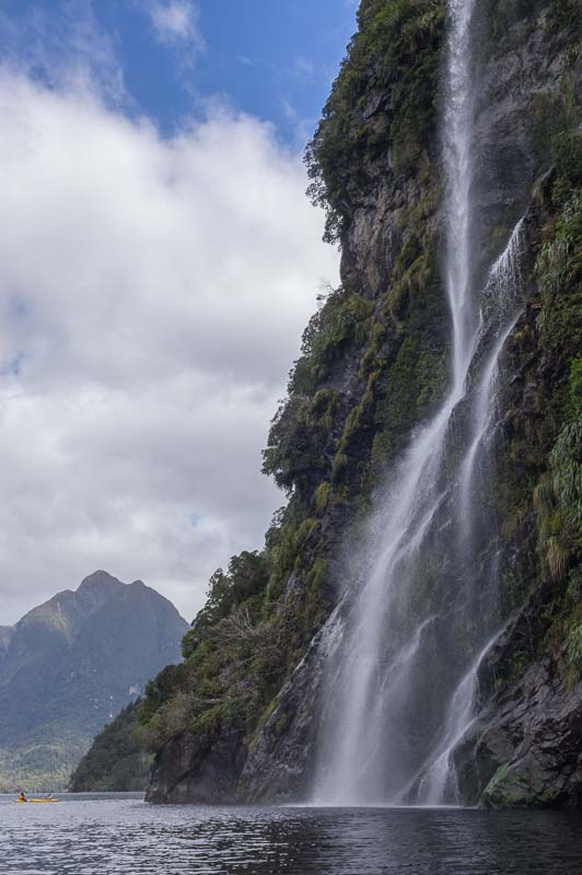Waterfall in Crooked Arm, Doubtful Sound, New Zealand