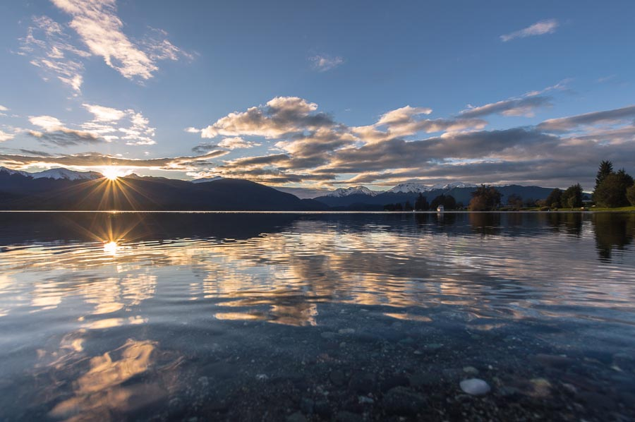 Sunset over Lake Te Anau and Kepler Mts, Fiordland, New Zealand
