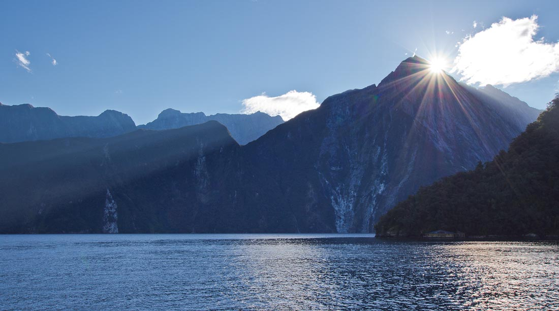 Mitre Peak and sunset, Milford Sound, Fiordland, New Zealand