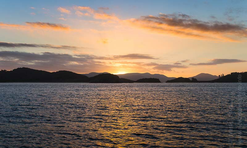 Sunset over Stewart Island, New Zealand
