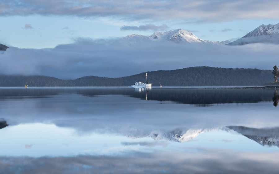 Reflection on Lake Te Anau, Fiordland, New Zealand