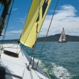 America's Cup yacht, view of Rangitoto Island, Auckland | photography