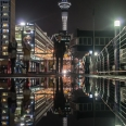 Reflection of Sky Tower at night, Auckland, New Zealand | photography